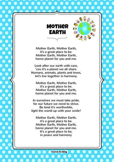 Mother Earth on action words for kids