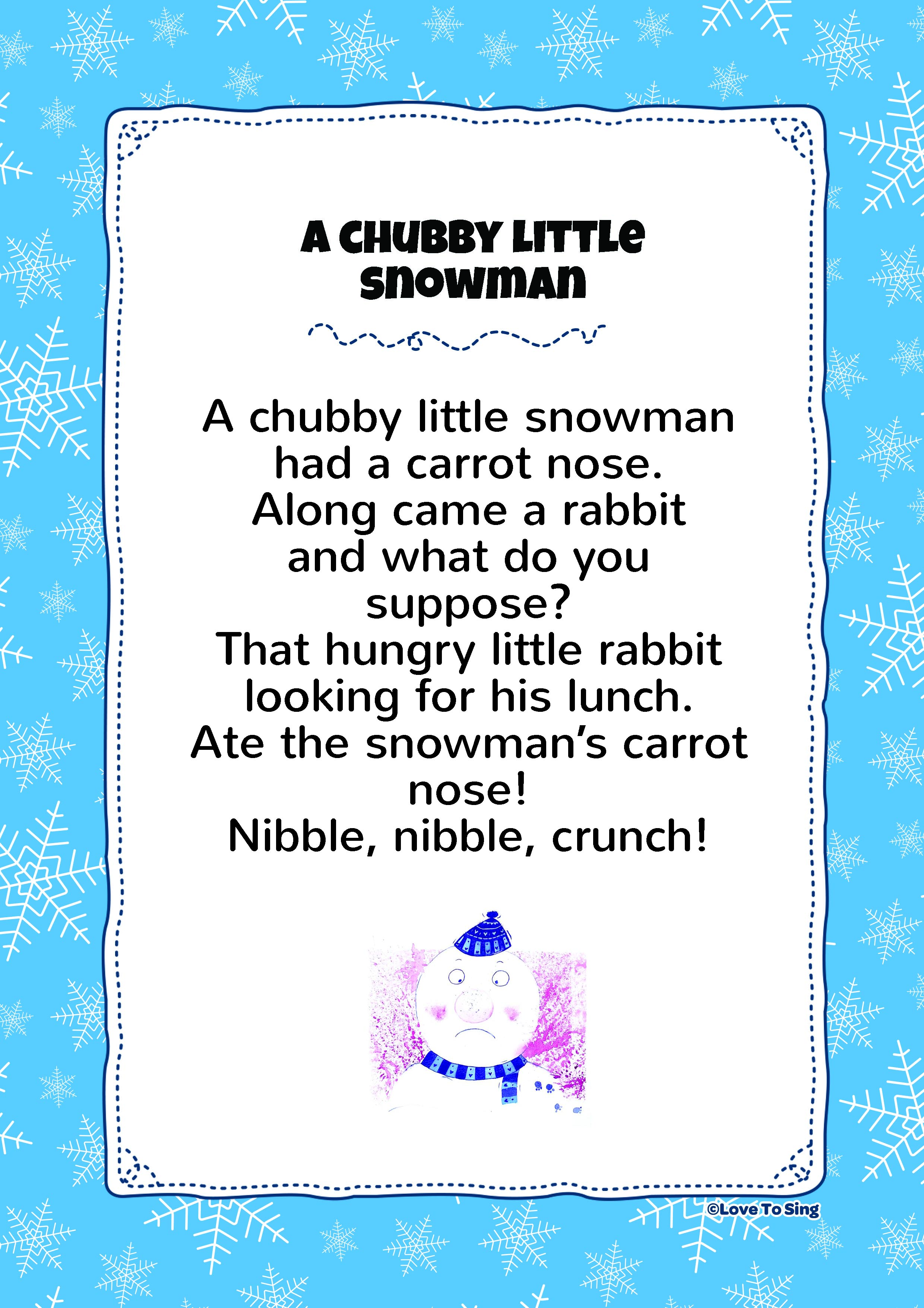 photograph regarding Chubby Little Snowman Poem Printable called A Over weight Tiny Snowman Young children Video clip Tune with Totally free Lyrics