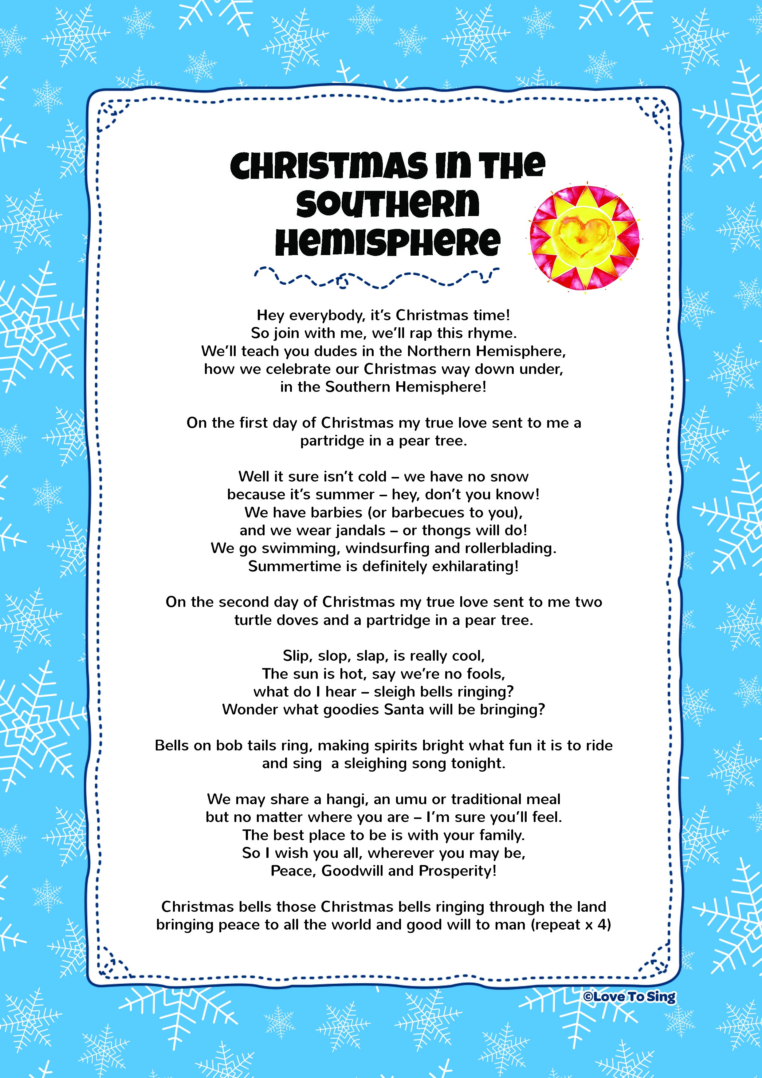 Christmas To Me Lyrics.Christmas In The Southern Hemisphere Kids Video Song With