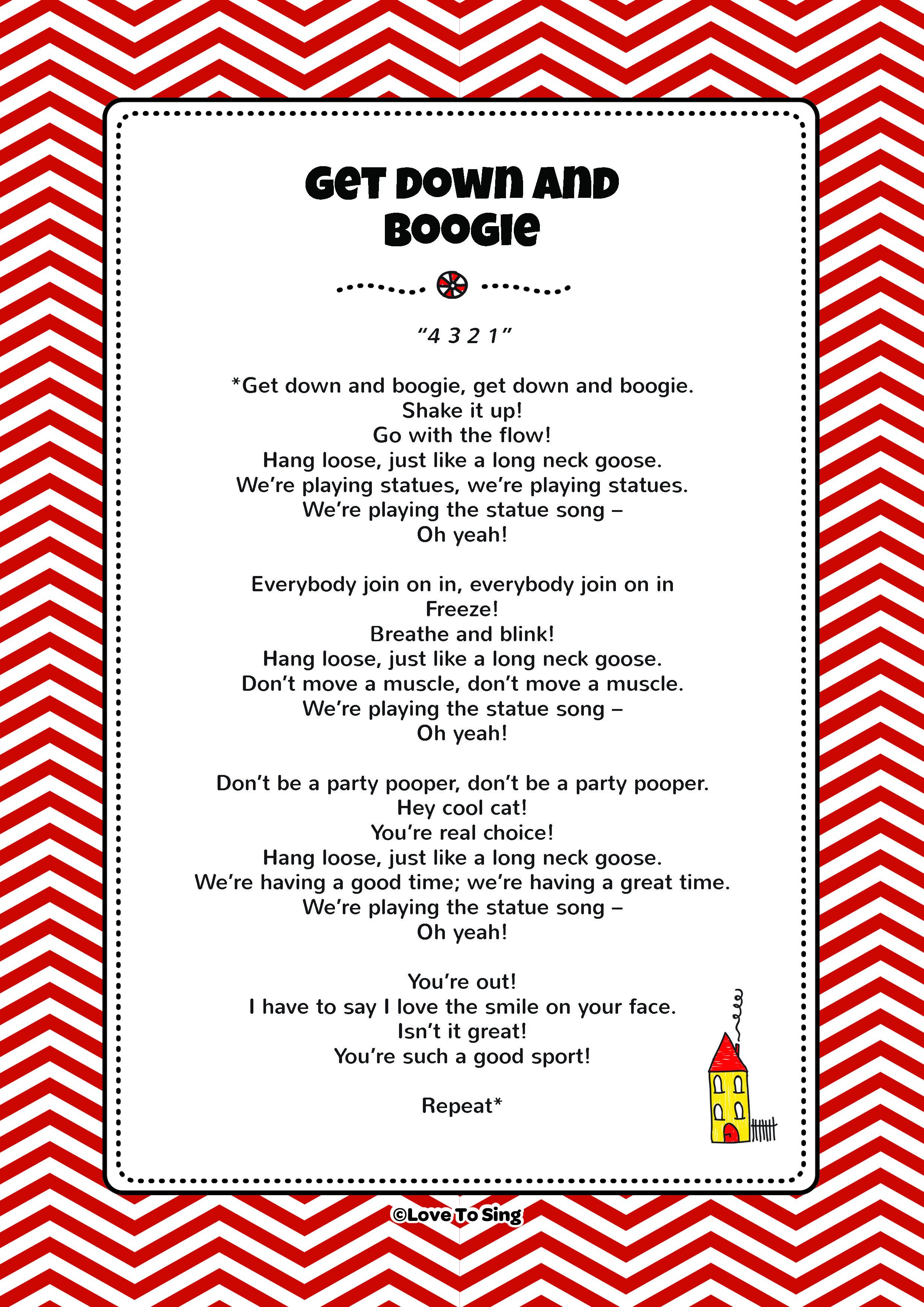 Get Down & Boogie Song | FREE Video Song, Lyrics & Activities