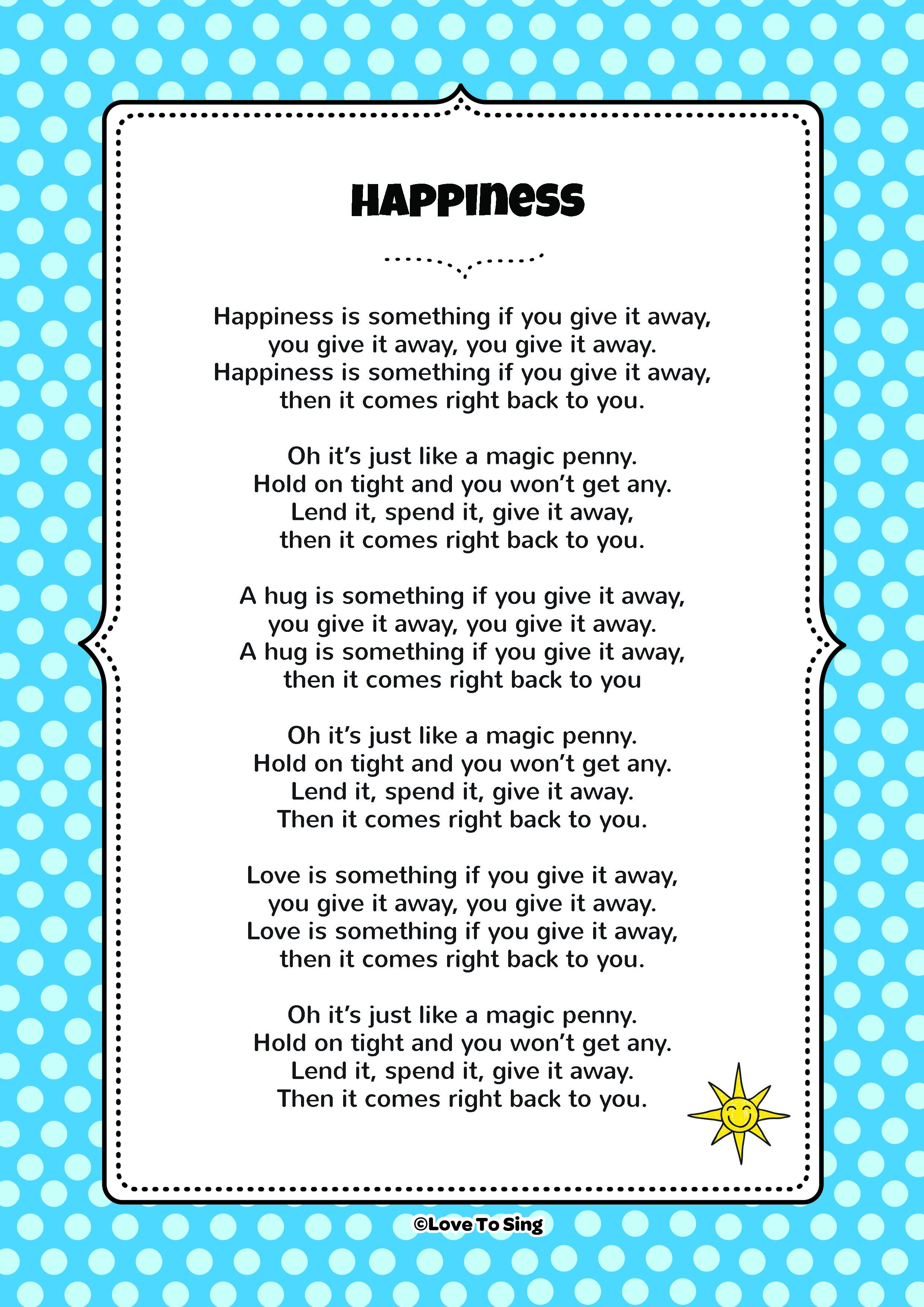 Happiness is Something If You Give it Away Song