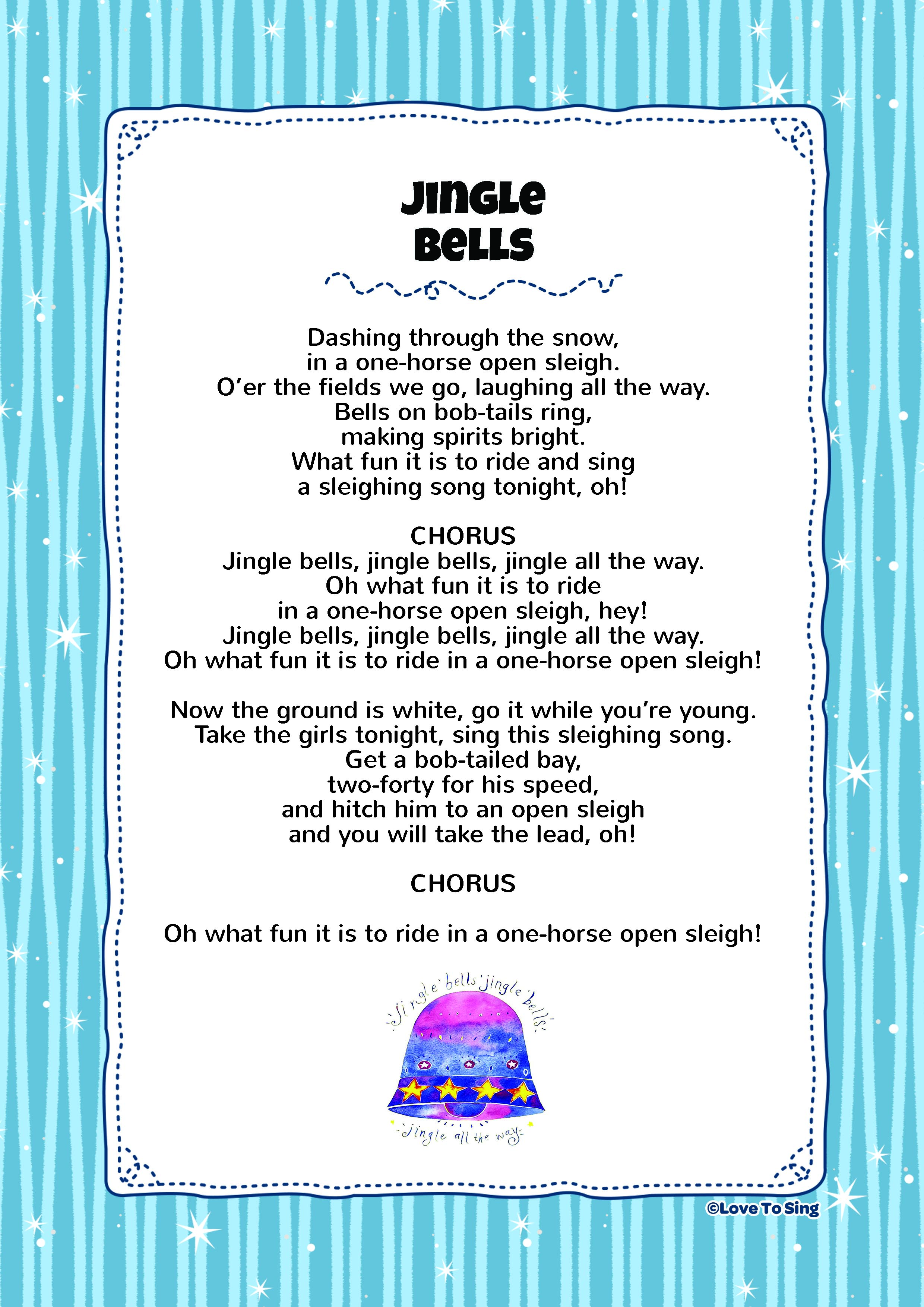 picture about Jingle Bells Lyrics Printable titled Jingle Bells Young children Video clip Tune with No cost Lyrics Pursuits!