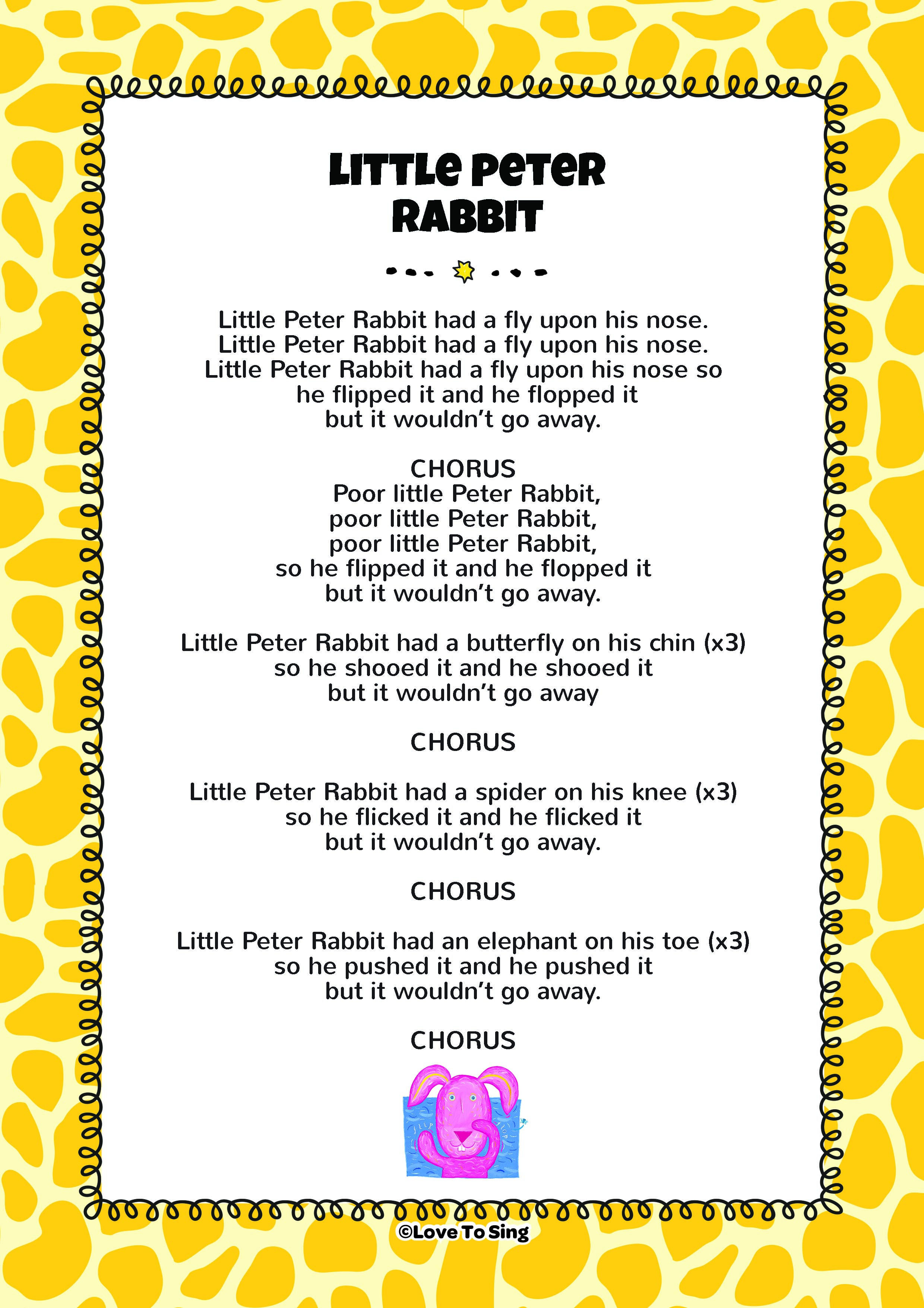 Little Peter Rabbit Song Free Video Song Lyrics