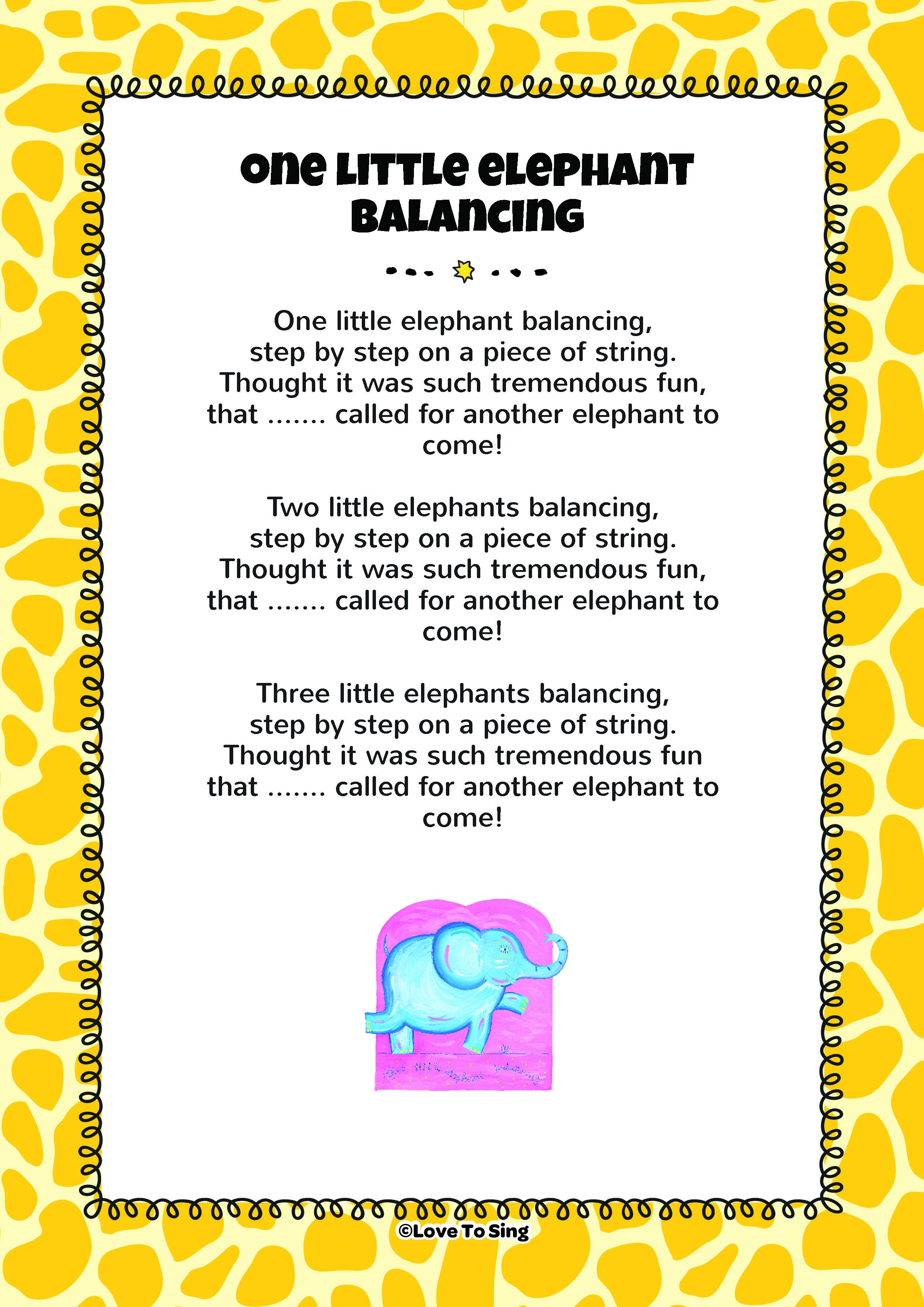 one little elephant balancing kids video song with free lyrics