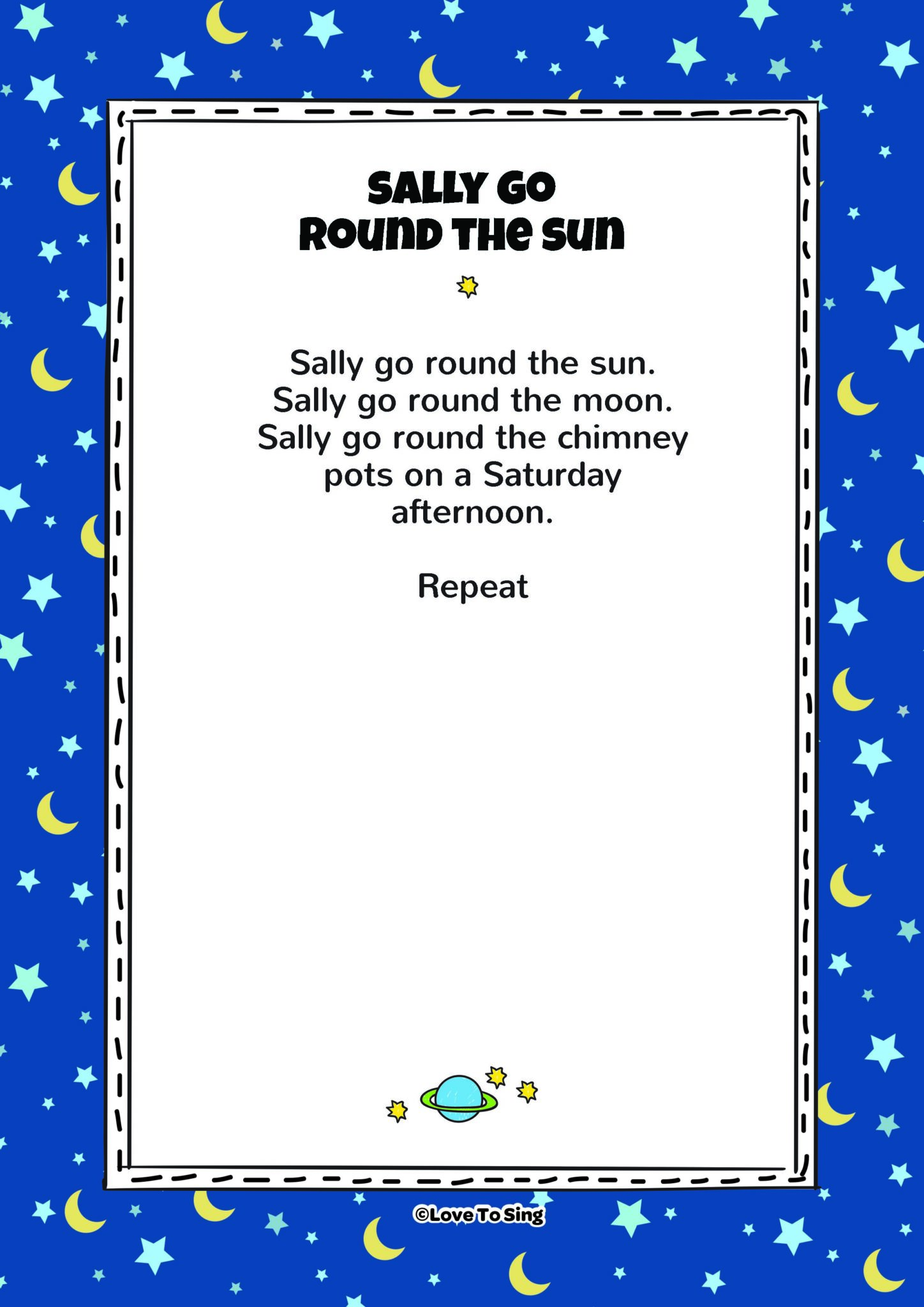 Sally Go Round The Sun on action words for kids