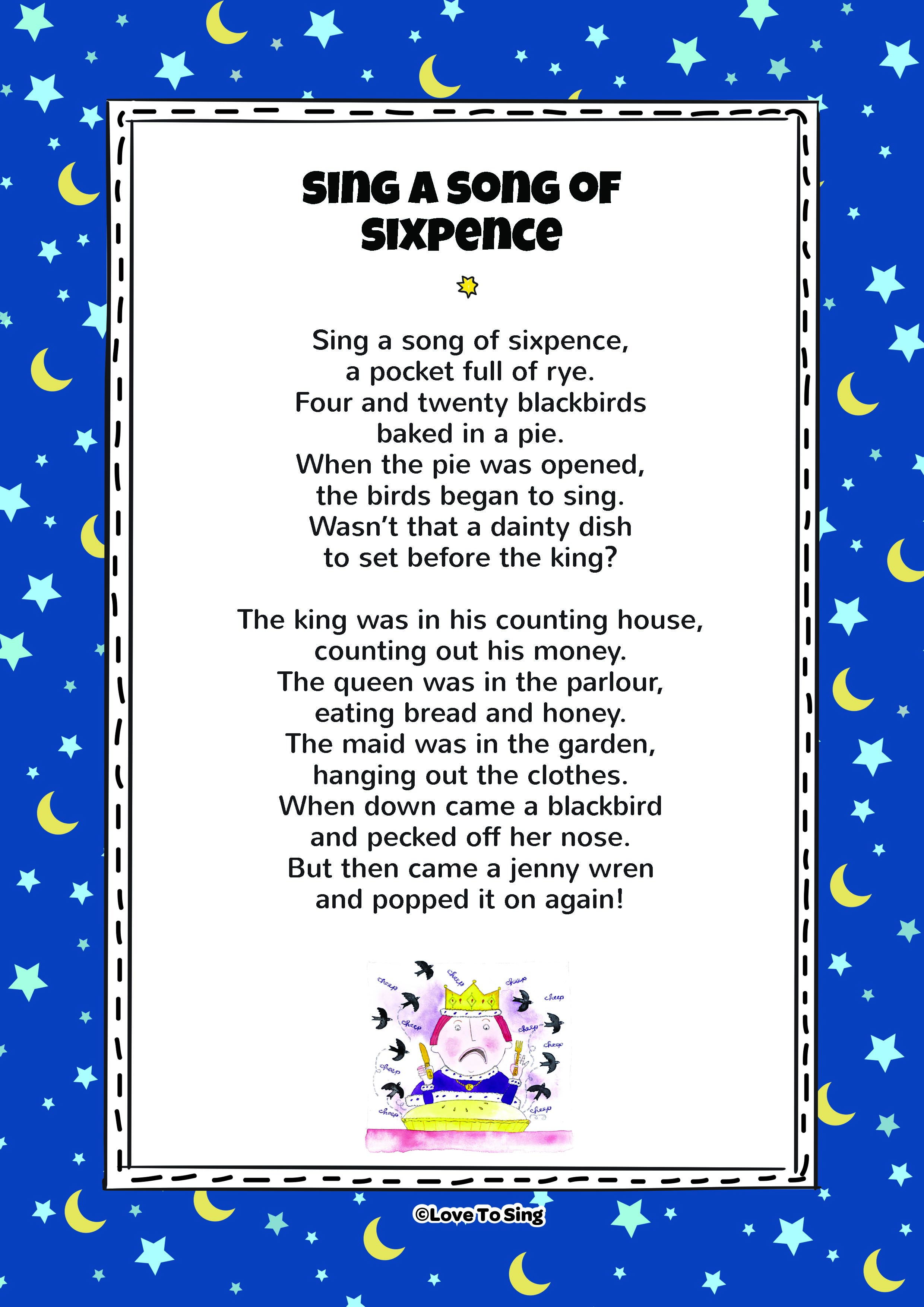 Sing A Song Of Sixpence Kids Video Song With Free Lyrics