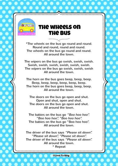 The Wheels On The Bus Song Free Video Song Lyrics