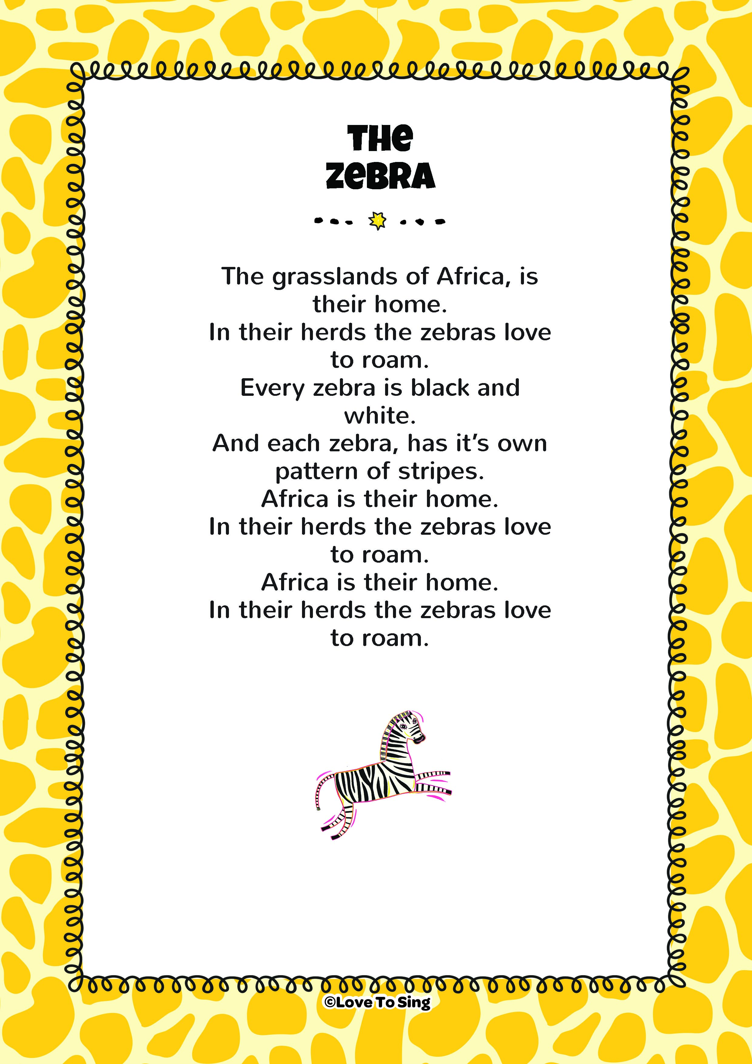 The Zebra Song Learn Facts About Zebras Free Videos