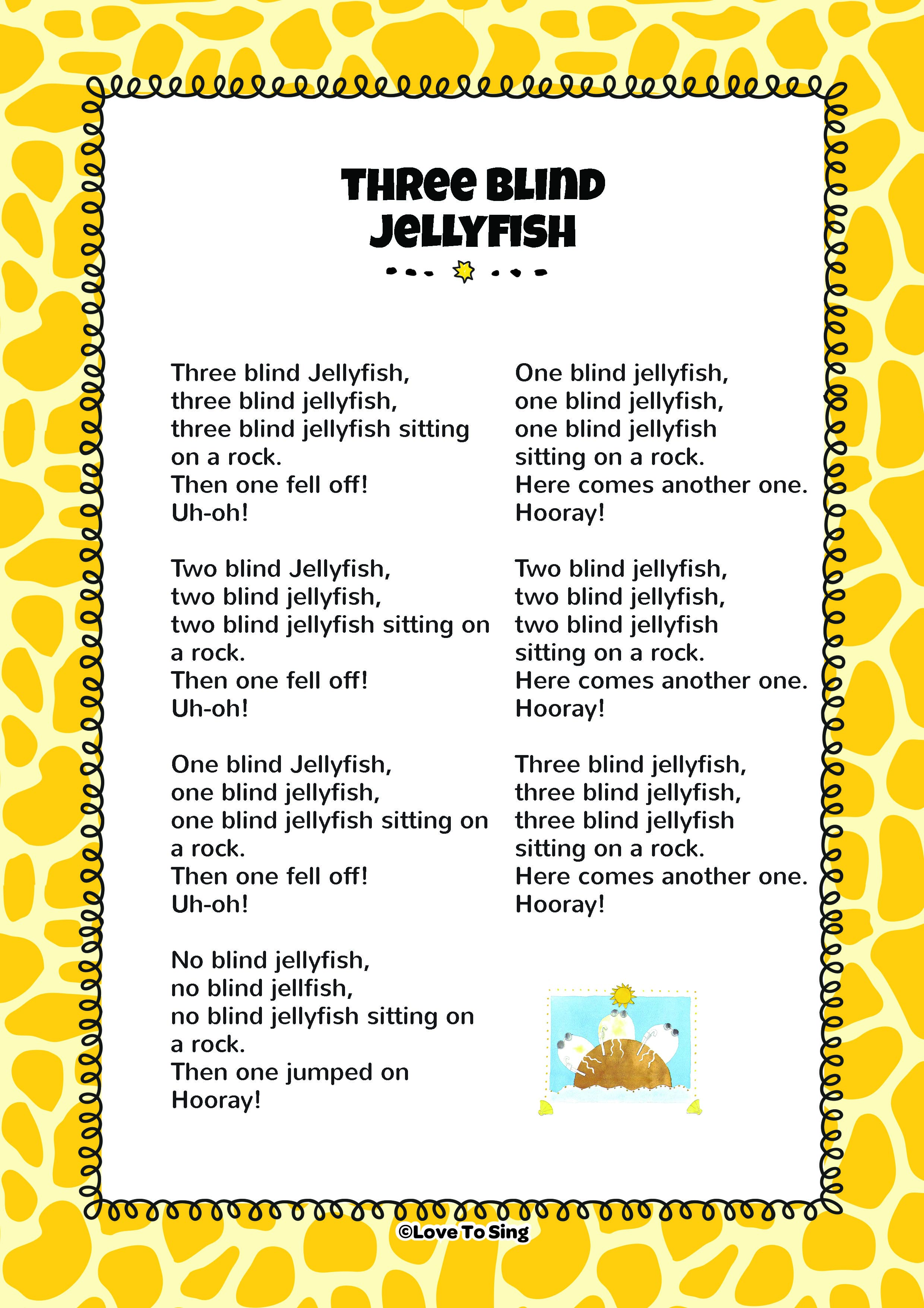 Three blind jellyfish kids video song with free lyrics for Little fish song