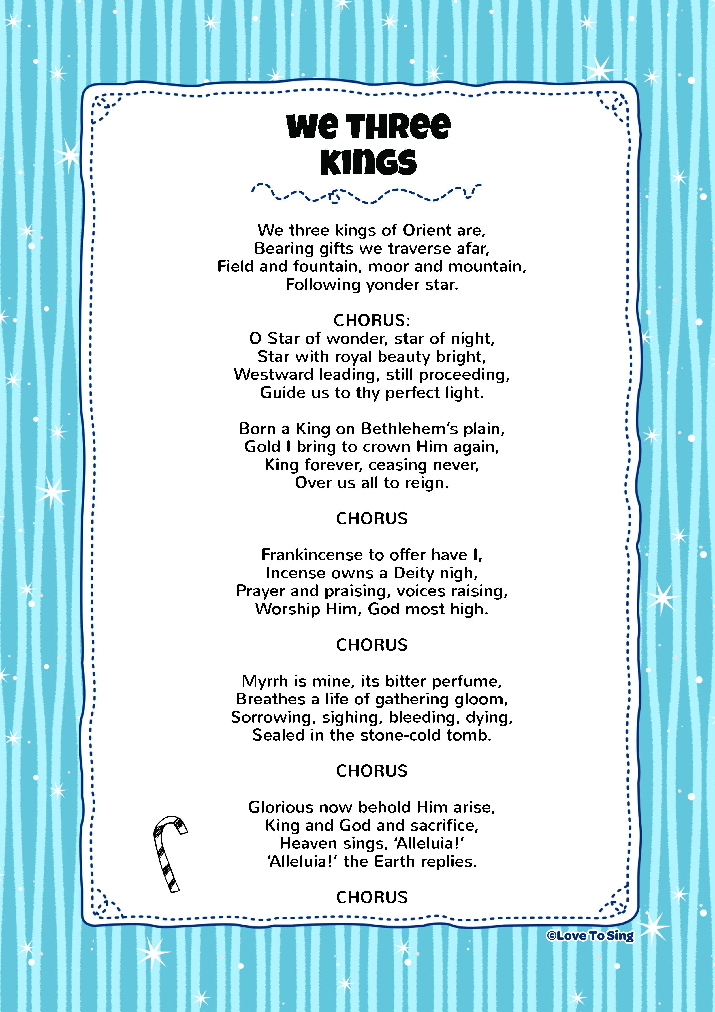 graphic about We Three Kings Lyrics Printable titled We 3 Kings Little ones Video clip Track with No cost Lyrics Routines!