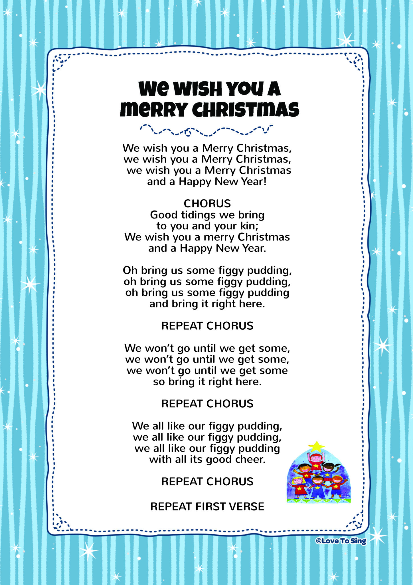 photograph relating to Lyrics to We Wish You a Merry Christmas Printable named We Need By yourself A Merry Xmas Youngsters Online video Music with Absolutely free