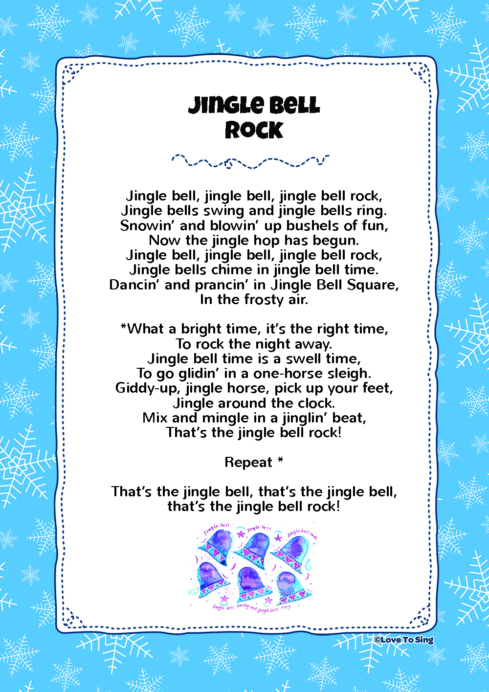 graphic about Jingle Bells Lyrics Printable named Jingle Bell Rock Children Movie Track with Absolutely free Lyrics
