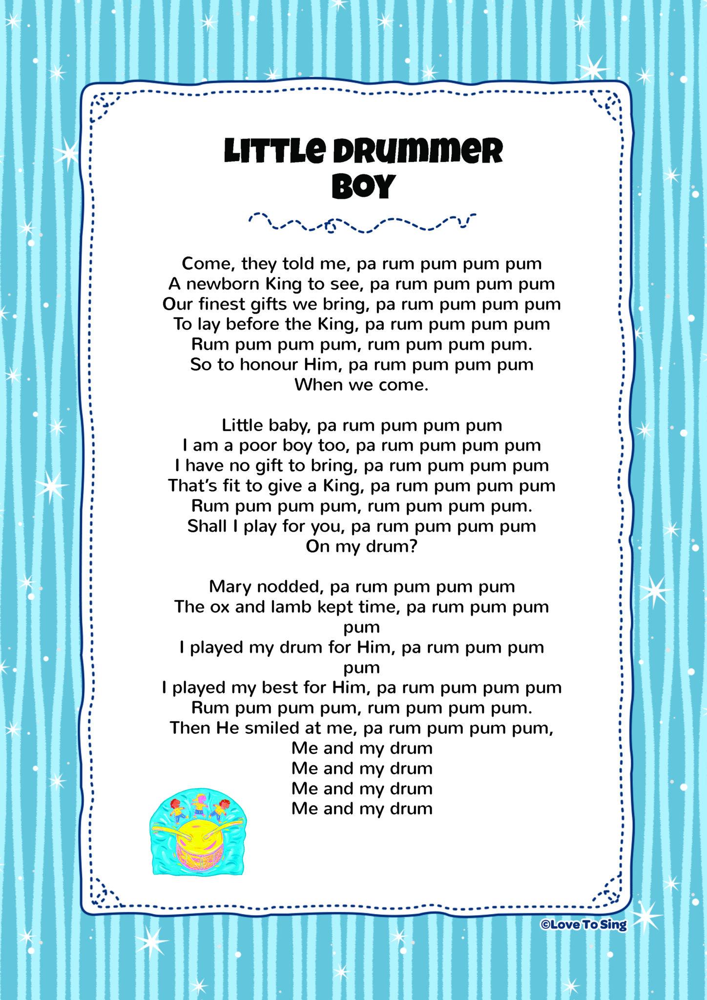 It is an image of Nerdy Little Drummer Boy Lyrics Printable