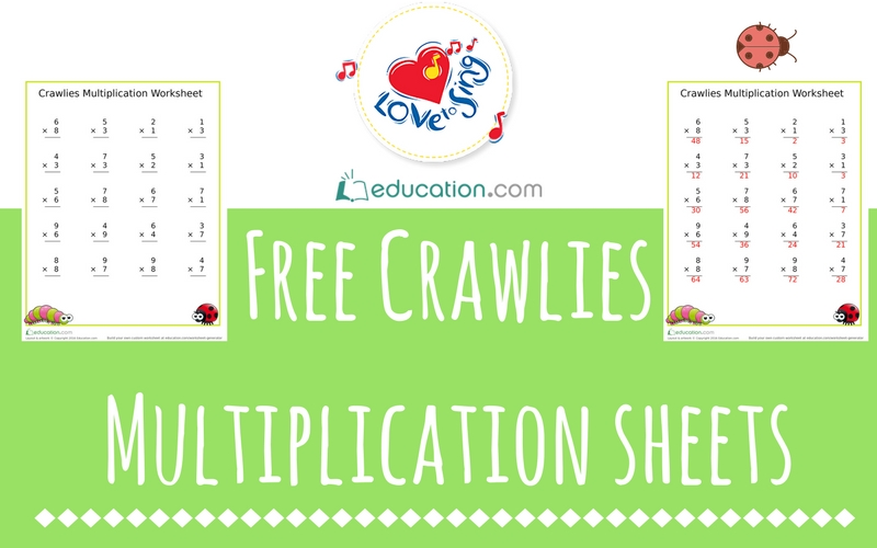 Free Crawlies Multiplication Sheets