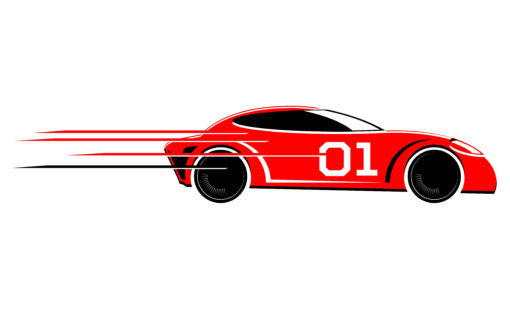 Speeding race car vector image
